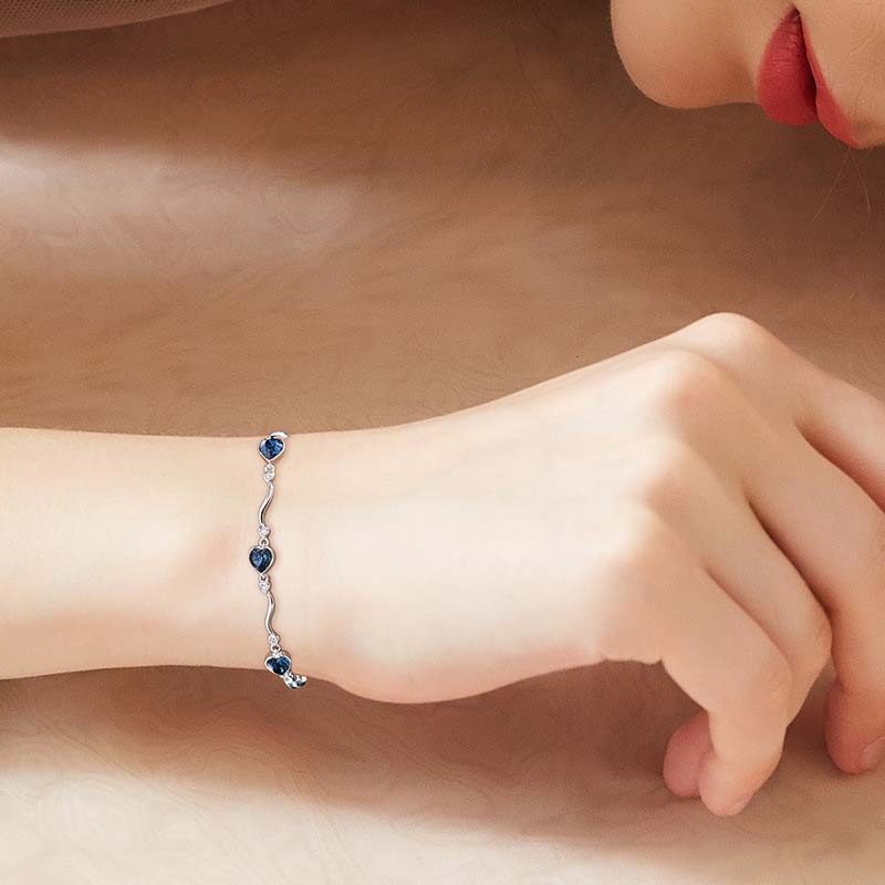 Lắc tay Vòng Tay Bạc Mạ Bạch Kim đính đá Swarovski Hình Trái Tim LILI 871167 02