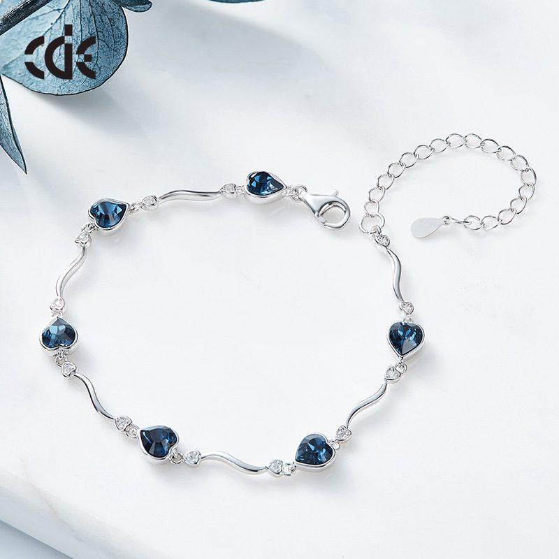 Lắc tay Vòng tay bạc mạ bạch kim đính đá Swarovski hình trái tim LILI_871167-03