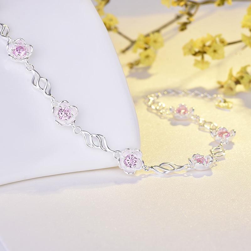 Lắc tay Vòng tay bạc mạ bạch kím đính đã Zircon hình bông hoa LILI_783929-01