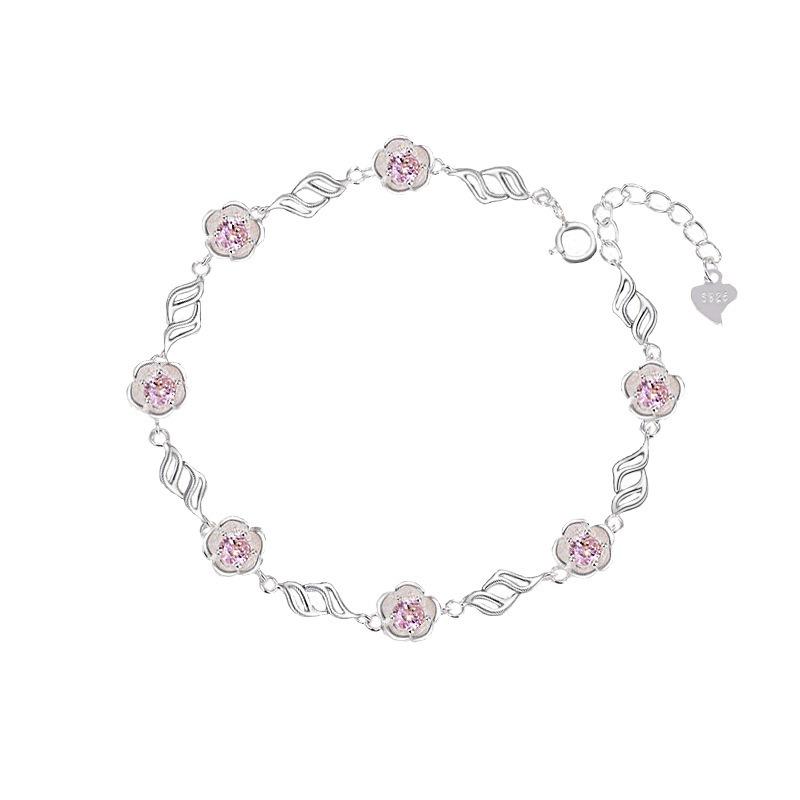Lắc tay Vòng tay bạc mạ bạch kím đính đã Zircon hình bông hoa LILI_783929-03
