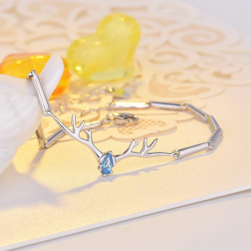 Lắc tay Vòng tay bạc mạ bạch kím đính đá Zircon hình cặp sừng tuần lộc LILI_718729-05