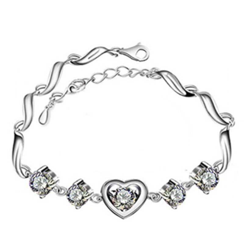 Lắc tay Vòng tay bạc mạ bạch kim đính đá Zircon hình trái tim LILI_238399-02