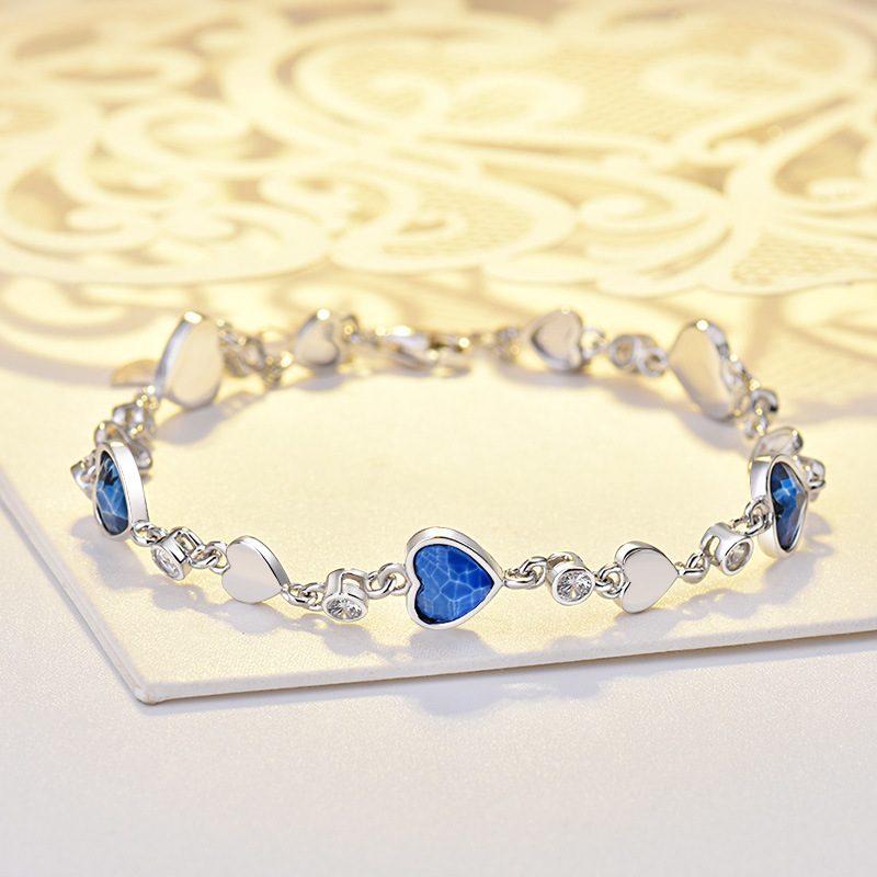 Lắc tay Vòng tay bạc mạ bạch kim đính đá Zircon hình trái tim LILI_449342-01