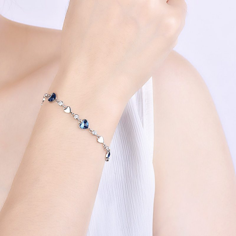 Lắc tay Vòng tay bạc mạ bạch kim đính đá Zircon hình trái tim LILI_449342-03