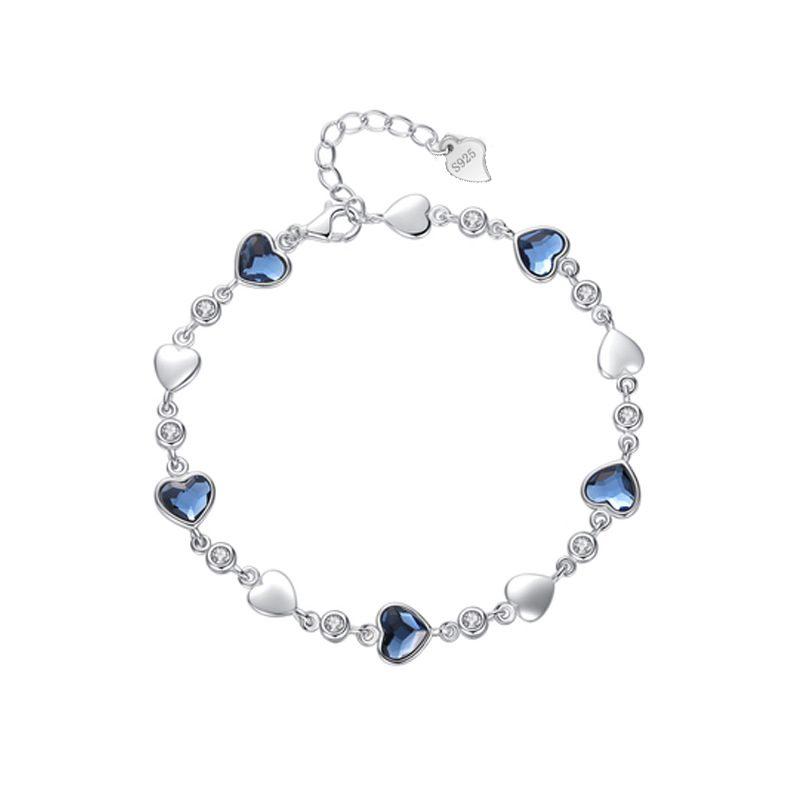 Lắc tay Vòng tay bạc mạ bạch kim đính đá Zircon hình trái tim LILI_449342-04