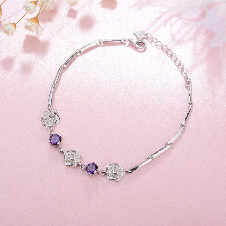 Lắc tay Vòng tay bạc mạ bạch kim đính pha lê hình bông hoa hồng LILI_748674-01