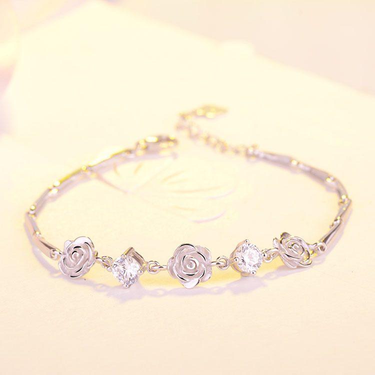 Lắc tay Vòng tay bạc mạ bạch kim đính pha lê hình bông hoa hồng LILI_748674-03