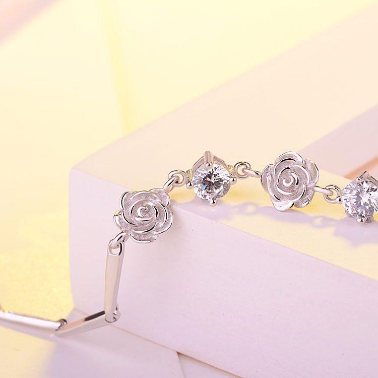 Lắc tay Vòng tay bạc mạ bạch kim đính pha lê hình bông hoa hồng LILI_748674-04