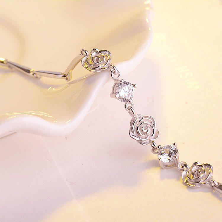 Lắc tay Vòng tay bạc mạ bạch kim đính pha lê hình bông hoa hồng LILI_748674-05