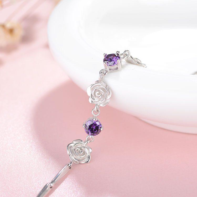 Lắc tay Vòng tay bạc mạ bạch kim đính pha lê hình bông hoa hồng LILI_748674-06