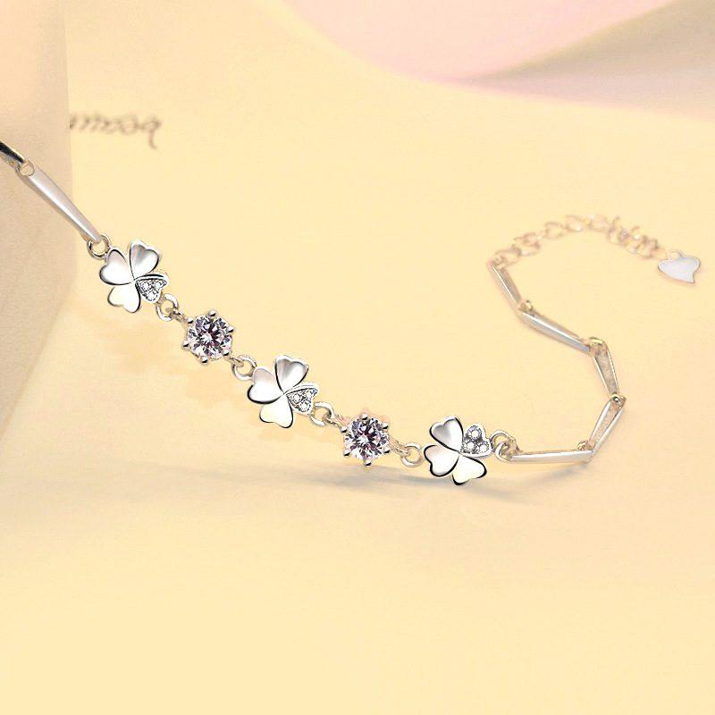 Lắc tay Vòng tay bạc mạ bạch kim đính pha lê hình cánh hoa LILI_612672-01