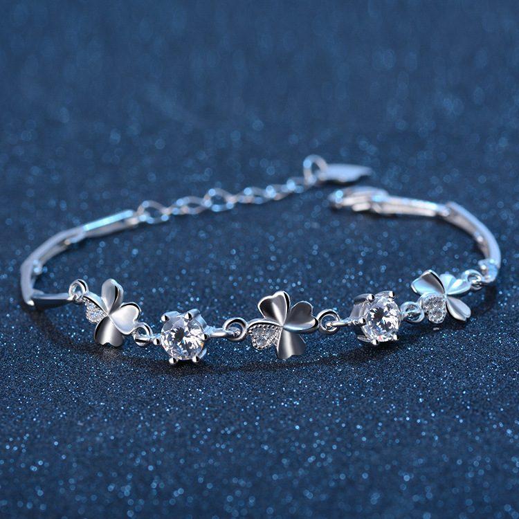 Lắc tay Vòng tay bạc mạ bạch kim đính pha lê hình cánh hoa LILI_612672-05