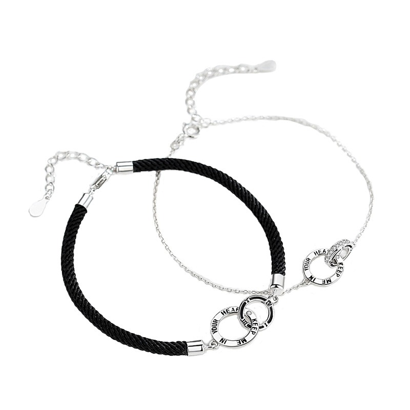 Lắc tay Vòng tay bạc theo cặp hình vòng đan nhau LILI_845123-03