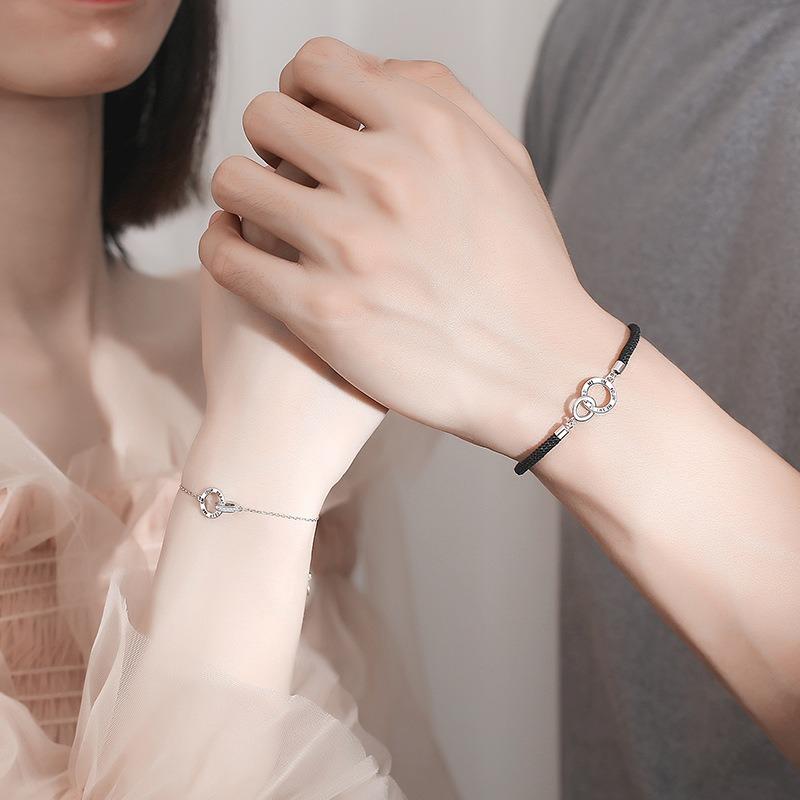 Lắc tay Vòng tay bạc theo cặp hình vòng đan nhau LILI_845123-04