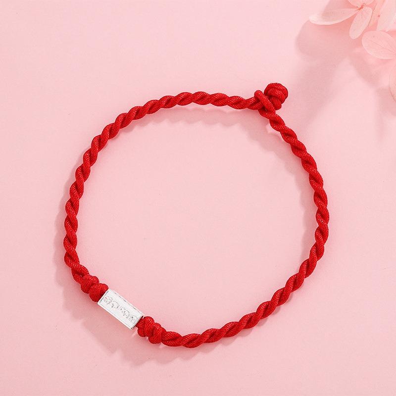 Lắc tay Vòng tay dây đỏ may mắn đính huy hiệu bạc LILI_885919-01