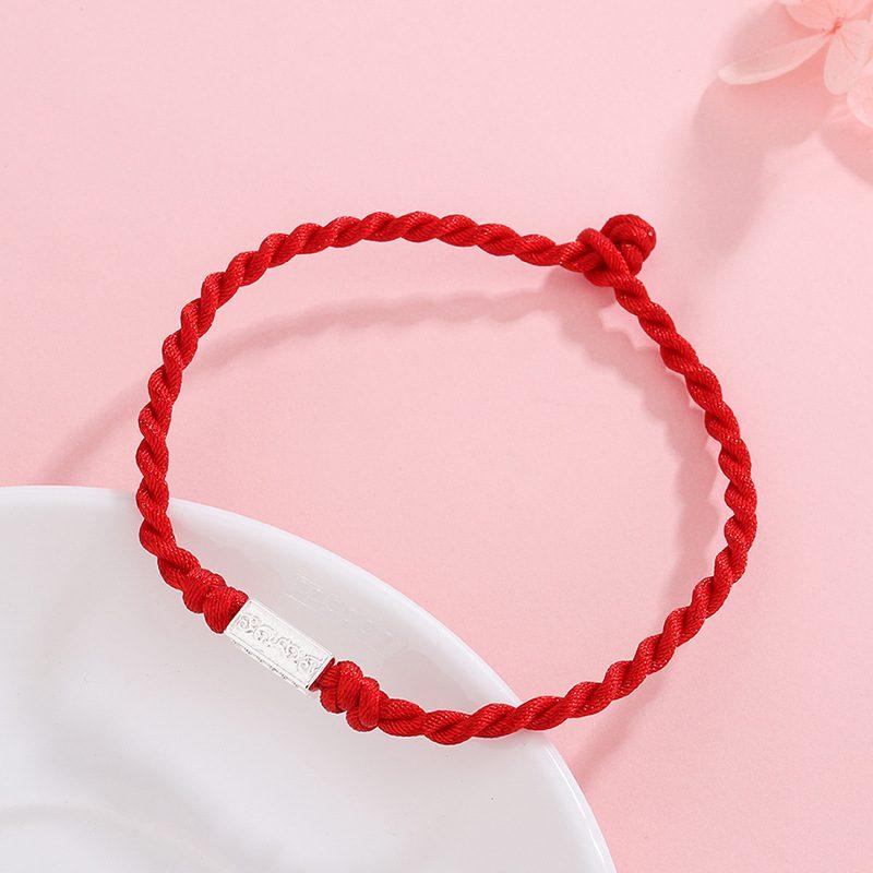Lắc tay Vòng tay dây đỏ may mắn đính huy hiệu bạc LILI_885919-02
