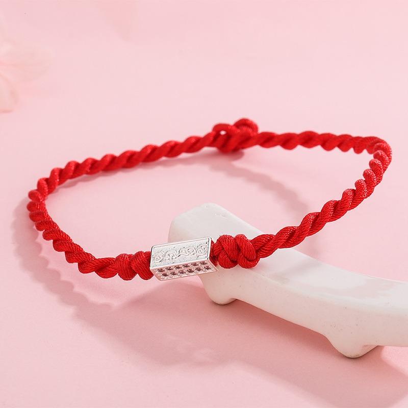 Lắc tay Vòng tay dây đỏ may mắn đính huy hiệu bạc LILI_885919-03