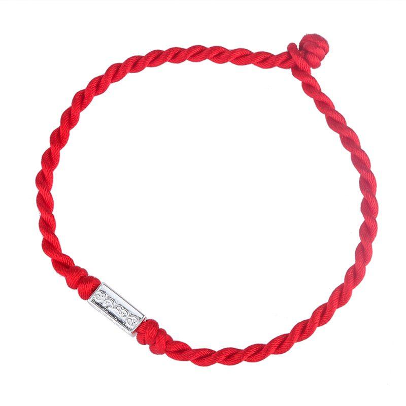 Lắc tay Vòng tay dây đỏ may mắn đính huy hiệu bạc LILI_885919-05