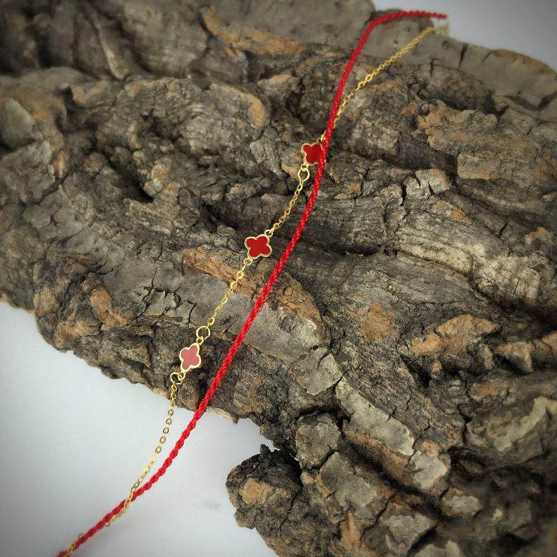 Lắc tay Vòng tay vàng 18k dạng chuỗi hình cỏ bốn lá LILI_711795-02