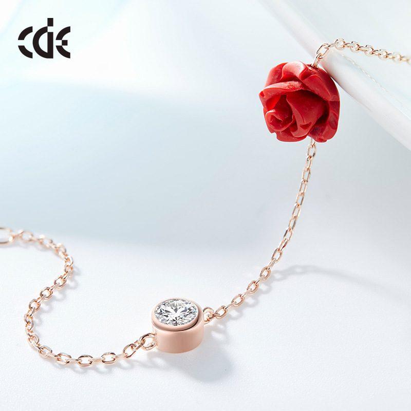 Lắc tay Vòng tay, vòng chân bạc mạ bạch kim đính đá pha lê hình hoa hồng LILI_543679-02