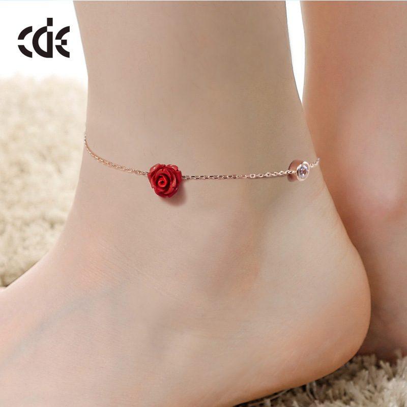 Lắc tay Vòng tay, vòng chân bạc mạ bạch kim đính đá pha lê hình hoa hồng LILI_543679-03