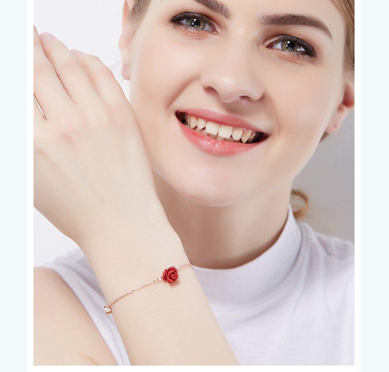 Lắc tay Vòng tay, vòng chân bạc mạ bạch kim đính đá pha lê hình hoa hồng LILI_543679-04