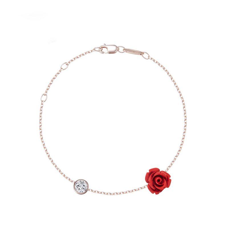Lắc tay Vòng tay, vòng chân bạc mạ bạch kim đính đá pha lê hình hoa hồng LILI_543679-05