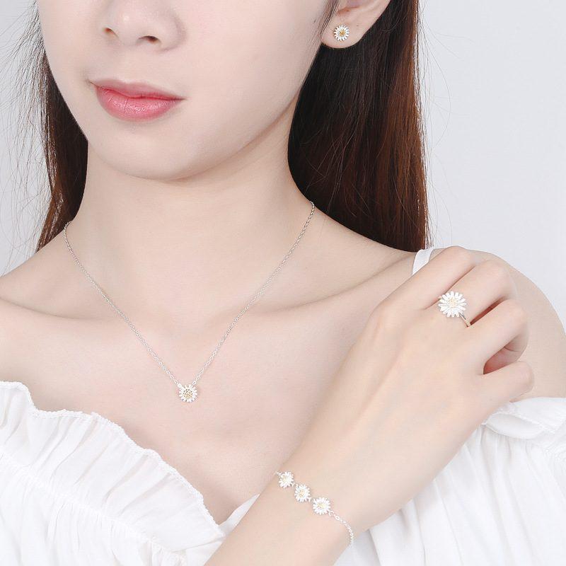 Bộ trang sức bạc cúc họa mi LILI_765251-02