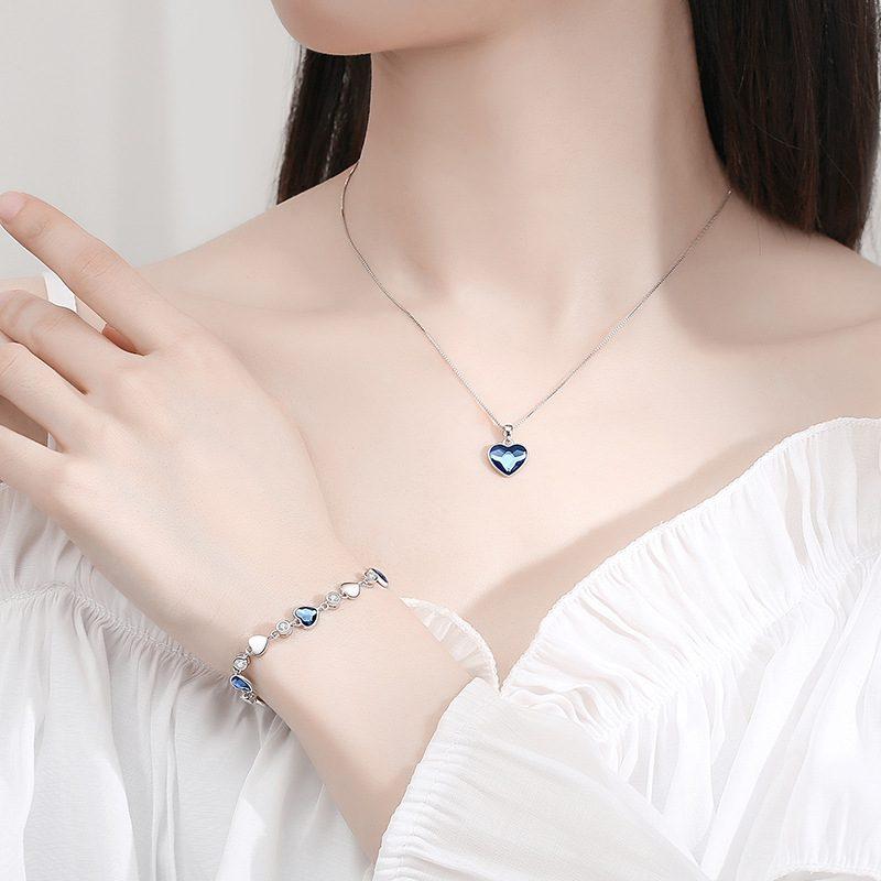 Bộ trang sức bạc đính đá pha lê hình trái tim LILI_941338-13