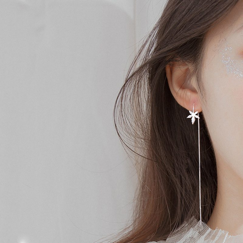 Bộ trang sức bạc mạ bạch kim hình lá phong LILI_841527-01