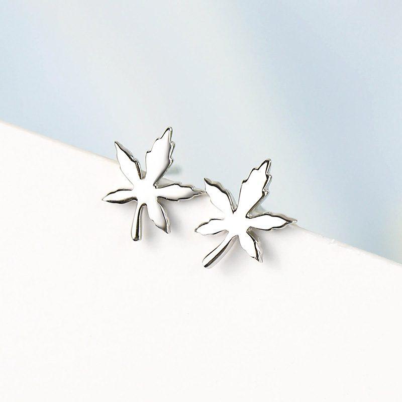 Bộ trang sức bạc mạ bạch kim hình lá phong LILI_841527-04