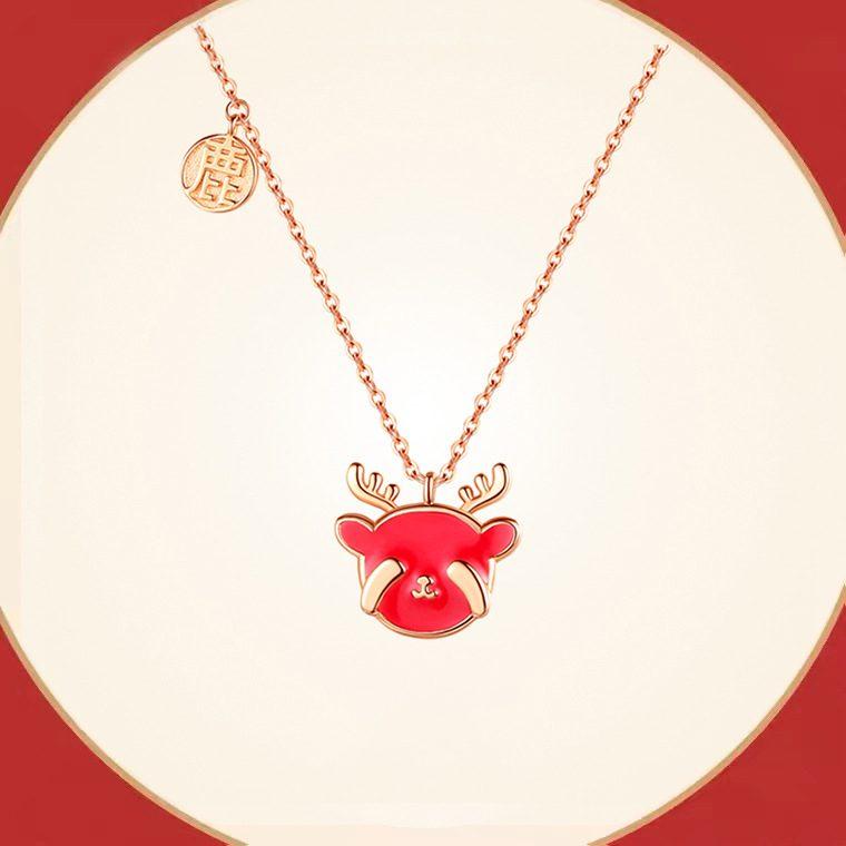 Bộ trang sức bạc mạ vàng hình chú tuần lộc LILI_782927-02