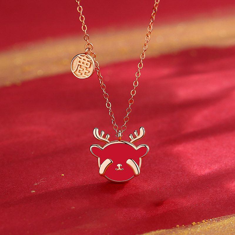 Bộ trang sức bạc mạ vàng hình chú tuần lộc LILI_782927-03