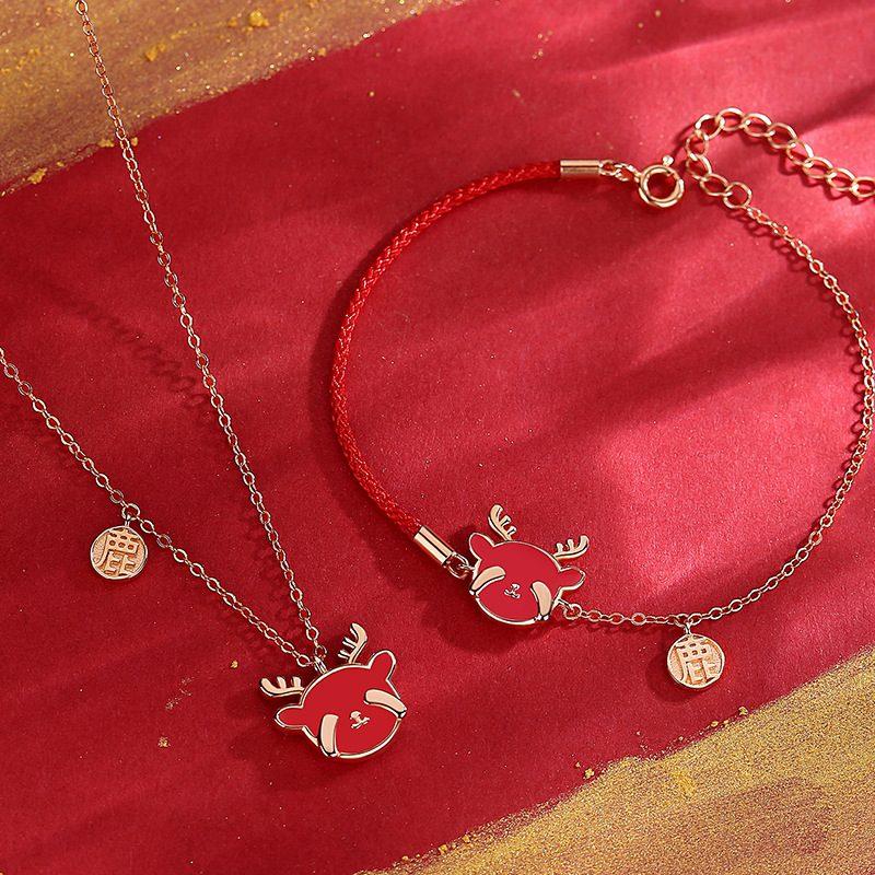 Bộ trang sức bạc mạ vàng hình chú tuần lộc LILI_782927-06