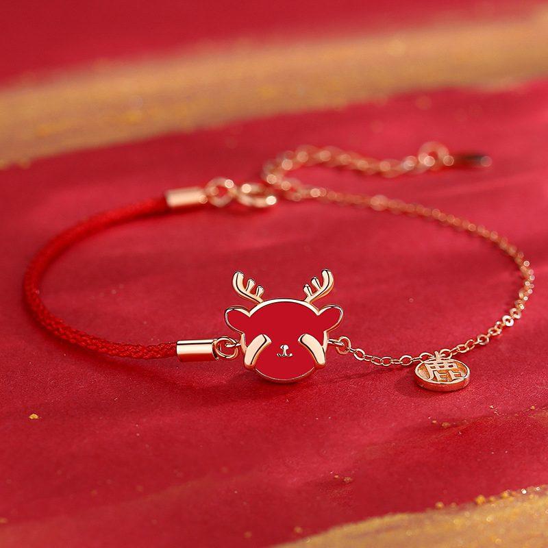 Bộ trang sức bạc mạ vàng hình chú tuần lộc LILI_782927-07