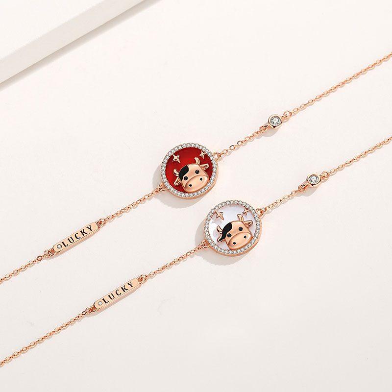 Bộ trang sức bạc mạ vàng sửu dễ thương LILI_871269-04