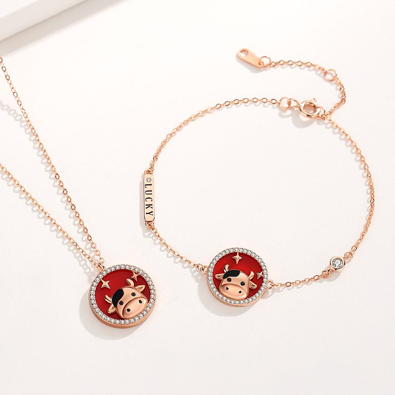Bộ trang sức bạc mạ vàng sửu dễ thương LILI_871269-07