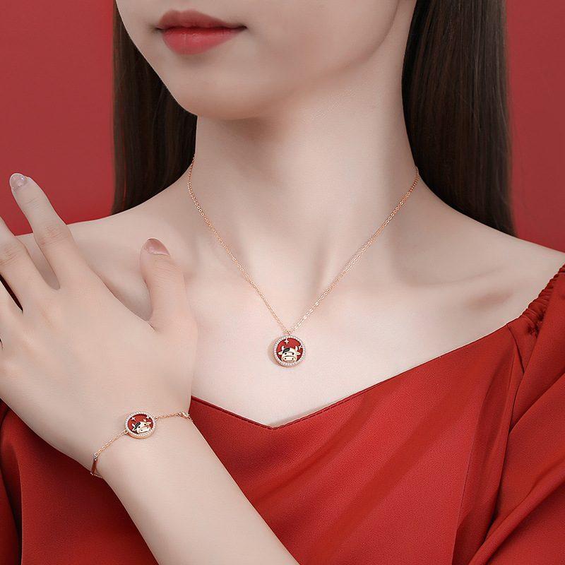 Bộ trang sức bạc mạ vàng sửu dễ thương LILI_871269-10