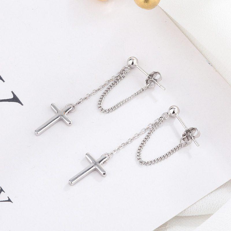 Bông tai bạc dạng chuỗi hình cây thánh giá LILI_389572-01