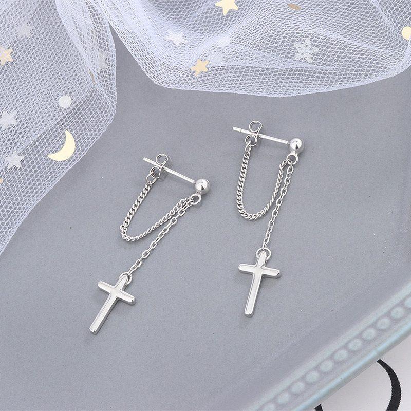 Bông tai bạc dạng chuỗi hình cây thánh giá LILI_389572-03