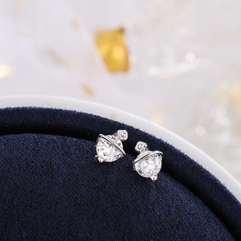 Bông tai bạc đính đá Zircon hình ngôi sao mộc LILI_358258-03