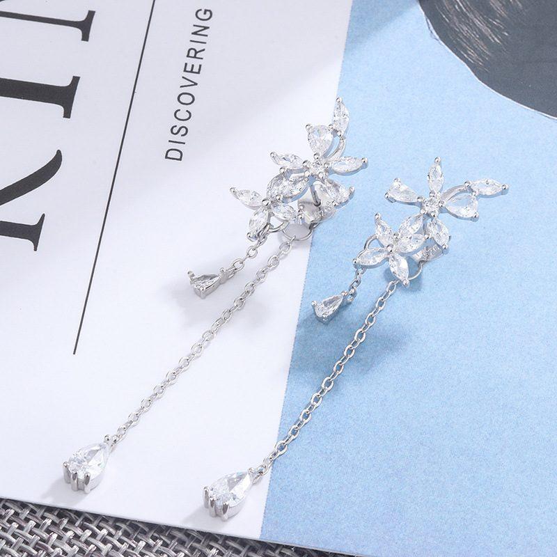 Bông tai bạc đính đá Zircon hình những bông hoa Lưu ly LILI_148289-01