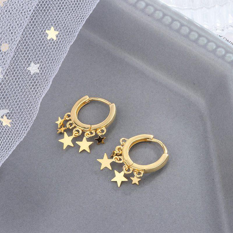 Bông tai bạc hình những ngôi sao 5 cánh LILI_236317-03