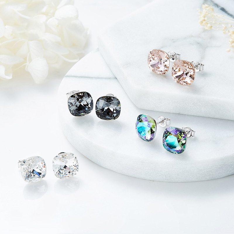 Bông tai bạc mạ bạch kim đính đá Swarovski Lovely Day LILI_237957-01