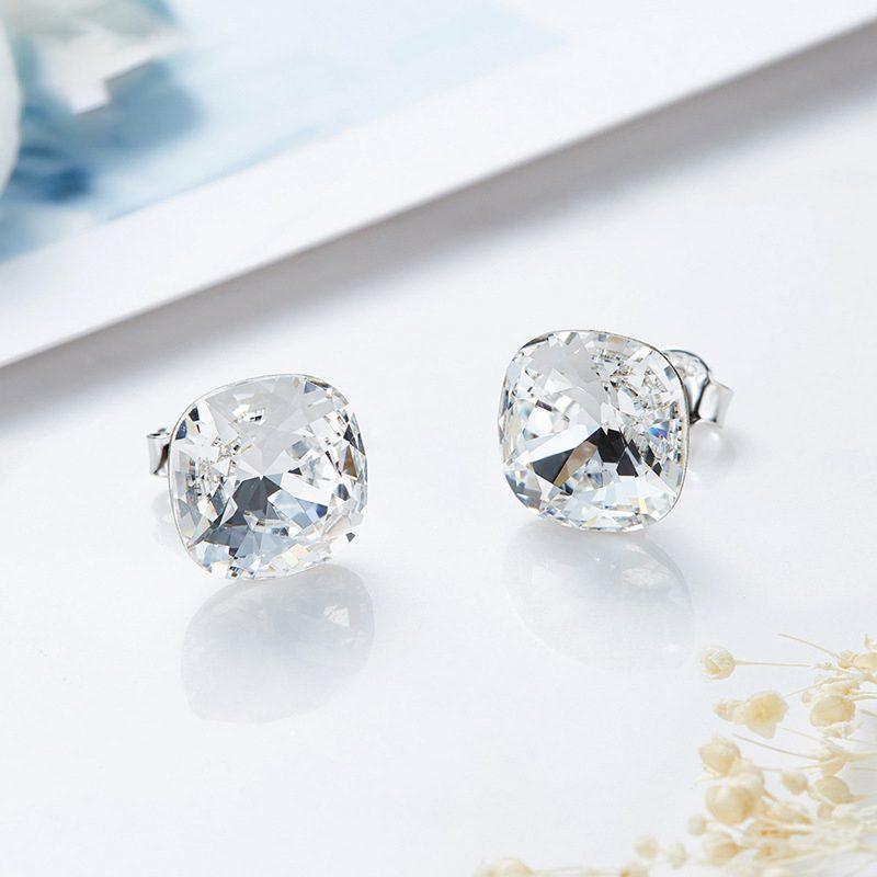 Bông tai bạc mạ bạch kim đính đá Swarovski Lovely Day LILI_237957-03