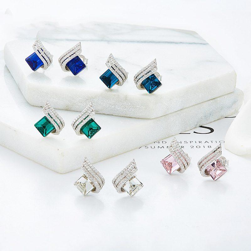 Bông tai bạc mạ bạch kim đính đá Swarovski The Archangle LILI_366293-01