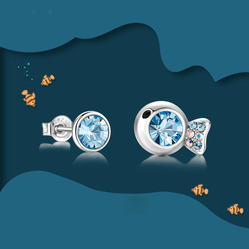 Bông tai bạc mạ bạch kim đính đá Swarovski hình cá Koi LILI_481594-03