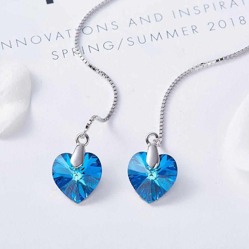 Bông tai bạc mạ bạch kim đính đá Swarovski hình trái tim LILI_162326-01