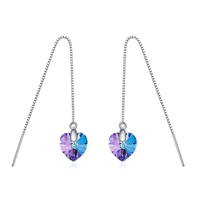 Bông tai bạc mạ bạch kim đính đá Swarovski hình trái tim LILI_162326-05