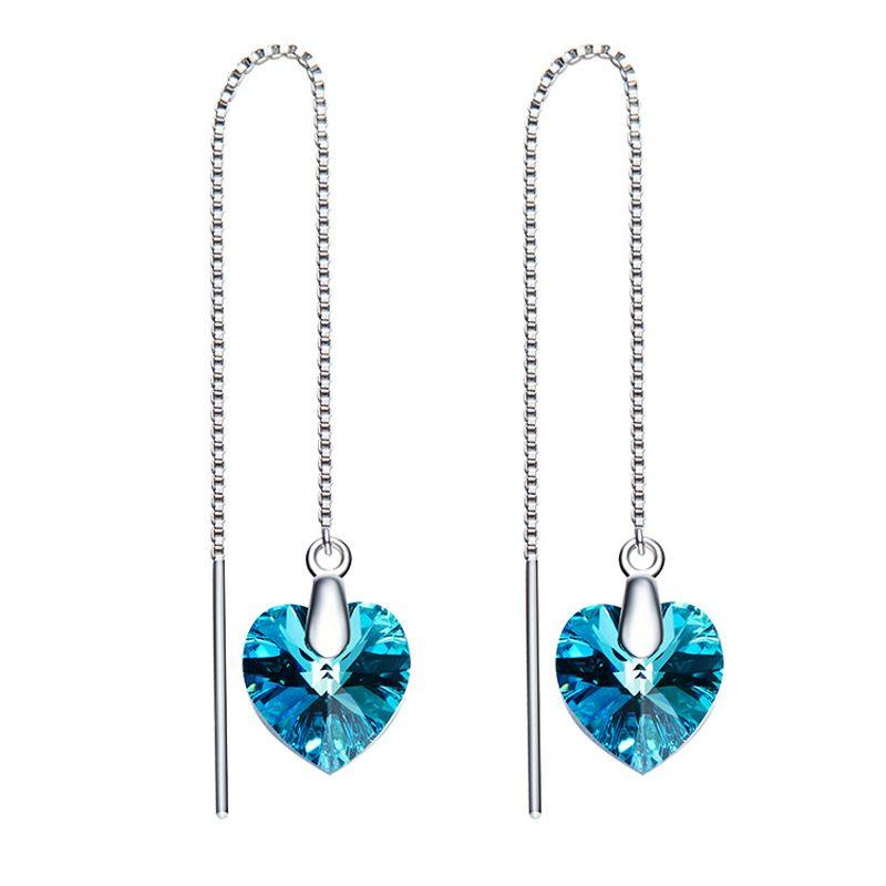 Bông tai bạc mạ bạch kim đính đá Swarovski hình trái tim LILI_162326-08